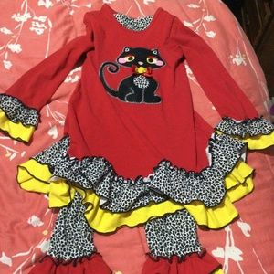 Emily Rose Girls 8 2 Pc Outfit Black Cat Pants Top